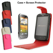 HTC Desire C (Golf) Deluxe PU Leather Flip Case in Black Blue Pink Red or White