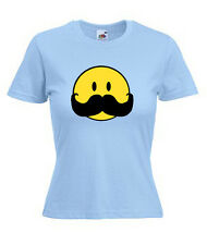 SMILEY MOUSTACHE   LADIES SKINNY FIT T-SHIRTS
