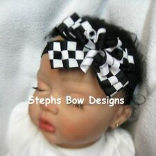 BLACK WHITE CHECKERED RACING FLAG DAINTY LAYERED KORKER HAIR BOW SOFT HEADBAND