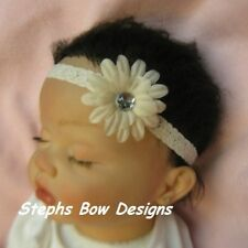 IVORY DAISY FLOWER BLING DAINTY HAIR BOW LACE HEADBAND INFANT BABY NEWBORN