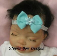 AQUA BUTTERFLY w/ BLING DAINTY HAIR BOW LACE HEADBAND EASTER Newborn Baby Infant