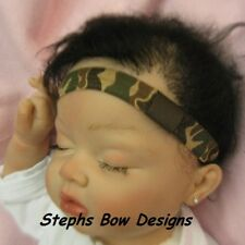 "CAMOFLAUGE GREEN BROWN TAN CAMO 5/8"" SOFT INTERCHANGEABLE HEADBAND BABY INFANT"