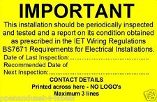 Electrical Safety Periodic Test Labels