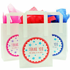 "6 White Paper Party Bags Printed ""Thank You For Coming To My Party"" with Tissue"