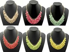 Fashion and New Gold Plated Resin Gem Round Bib Statement Necklace G-A1076