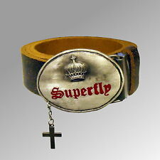 NEW MENS FAUX LEATHER SUPERFLY BELT FASHION CRUCIFIX BUCKLE CRACKED STYLE 28-46W