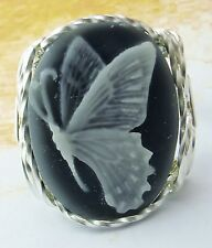 R942 Butterfly Cameo Ring Sterling Silver Grey Fine Jewelry