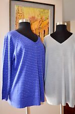 AVENUE Women Plus Size Sweater  3XL 4XL  Gray or Blue Knit Silver Accent 1361