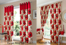 RED CREAM POPPY 100% COTTON FULLY LINED CURTAINS 2 HEADINGS RING TOP AND TAPE