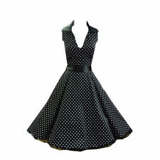 H & R London BLACK Polka dot Swing 50's Housewife pinup Dress Rockabilly 6875