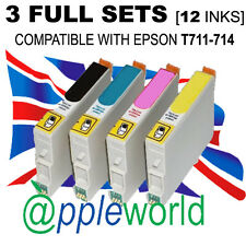 3 FULL SETS cartridges (12 INKS) compatible with T711-714 [not EPSON original]