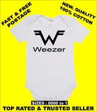 BABY ONE PIECE, ROMPER. ONESIE. printed with WEEZER logo on quality romper