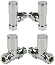 15 mm Round Chrome Heated Warmer Towel Rail Radiator Valves Straight or Angled