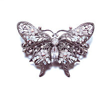 BUTTERFLY HAIR BARRETTE CLIP CRYSTAL SILVER TONE METAL