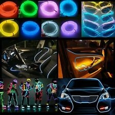 12V 5m Flexible EL Neon Glow Lighting Rope Strip+Charger for Car Deco 7 Colors