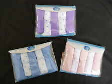 BABY WASH CLOTHS BABY FLANNELS PACK OF 5 BLUE, PINK OR LILAC