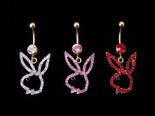 CRYSTAL BUNNY BELLY BAR NAVEL RING CLEAR PINK RED GOLD TONE