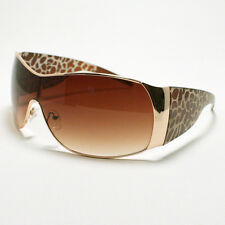 WOMEN'S Oversized Shield Style Sunglasses Animal Leopard Print (3 Colors)