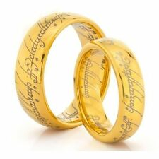 14K Gold Plated Tungsten Carbide Lords of The Rings His & Hers Wedding Bands