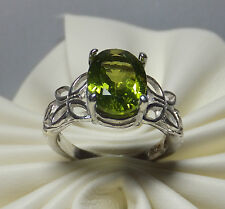 Brand New Sterling Silver Genuine Peridot Butterfly & Leaves Motif Ring