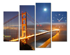 High Quaity Canvas Print Golden Bridge In Moonlight  Big Sizes Home Decals