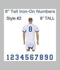 "8"" Tall Iron-On Number for Football Baseball Jersey Sports T-Shirt Style #1"