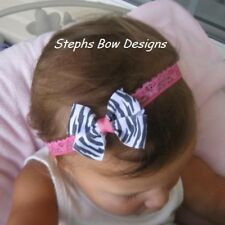 "ZEBRA HOT PINK DAINTY HAIR BOW LACE HEADBAND ADORABLE 2"" Wide So Cute On BABY"