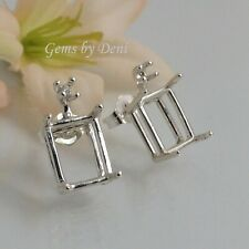 Two Single Accented Octagon Sterling Silver Pre-Notched Earrings (6x4-11x9mm)