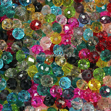 6mm Mixed Faceted Glass Crystal Rondelle Spacer Loose Bead (approx 20 mix color)