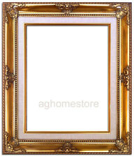 Antique Gold Leaf  Wood Picture Frame with Natural Linen Liner