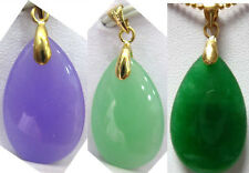 charm green/purple oval jade bead 18KGP pendant necklace free chain