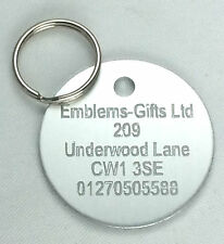 SILVER PET DOG TAGS ENGRAVED WITH NAME & PHONE NUMBER FREE POSTAGE WITHIN THE UK