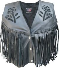 A2307 Ladies Leather Black Rose Vest with fringe, braid, & side laces