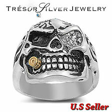 mens smoking skull stainless steel clear crystal ring size 8 9 10 11 12 13 14 15
