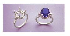 (10x8-14x12mm) Oval Side Accented Sterling Silver Ring Setting (Size 5-8)