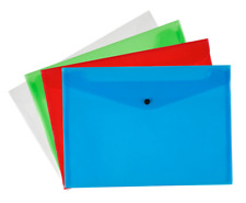 Pack of 12 Quality Plastic Stud Document Wallets Folders Filing Paper Storage