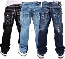 """PEVIANI """"TRUE THICK RICK"""" MENS BOYS STRAIGHT FIT JEANS RELIGION IS MONEY TIME"""