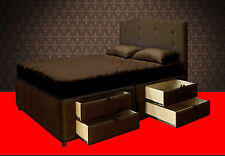 King Platform Bed Frame with Storage Drawers Upholstered Bed and Headboard Sale