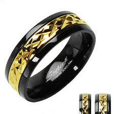 MENS WOMENS BLACK w/ GOLD ACCENT TITANIUM WEDDING RING SET 5 6 7 8 9 10 11 12 13