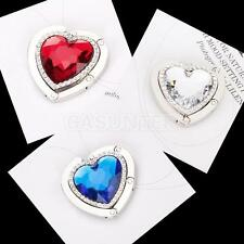 Red/Blue/Clear Heart Shape Rhinestone Folding Purse Handbag Hanger Hook Holder