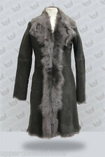 Grey Ladies Women's Real Toscana Sheepskin Leather Jacket Trench Coat