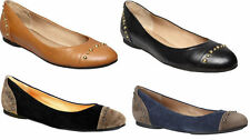 LADIES WOMENS HUSH PUPPIES VIOLET BLACK SLIP ON SUEDE LEATHER CASUAL SHOES FLATS