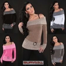 NEW SEXY SZ 6 8 10 12 WOMENS JUMPER SWEATER HOT CLUB PARTY CASUAL TOP WITH BELT