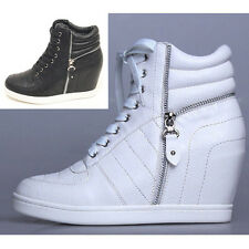 New Women's Fashion Sneakers Lace Up Wedge Shoes Hidden heel High Top Ankle Shoe