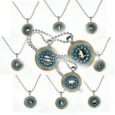 """Blue 'N Copper Zodiac on Glass in Silver Pendent on 24"""" Matching Ball Chain"""
