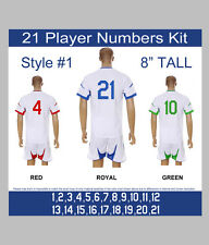 "21 Player Numbers Team KIT 8"" Tall Iron-On for Sports Jersey or T-Shirt Style #1"