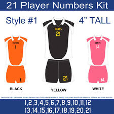 "21 Player Numbers Team KIT 4"" Tall Iron-On for Sports Jersey or T-Shirt Style #1"