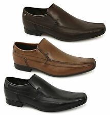 Base London TUMBLE Mens Leather Slip On Formal Loafers Shoes Black/Tan/Brown New