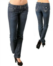 Dark Blue Flare Jeans- With Rhinestone, Buttoned Back Pockets (Cotton/Spandex)