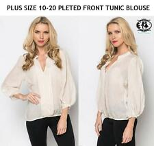 LADIES PLUS SIZE 10-20 SHEER BLOUSE PLETE TUNIC TOP CASUAL SHIRT FORMAL OFFICE